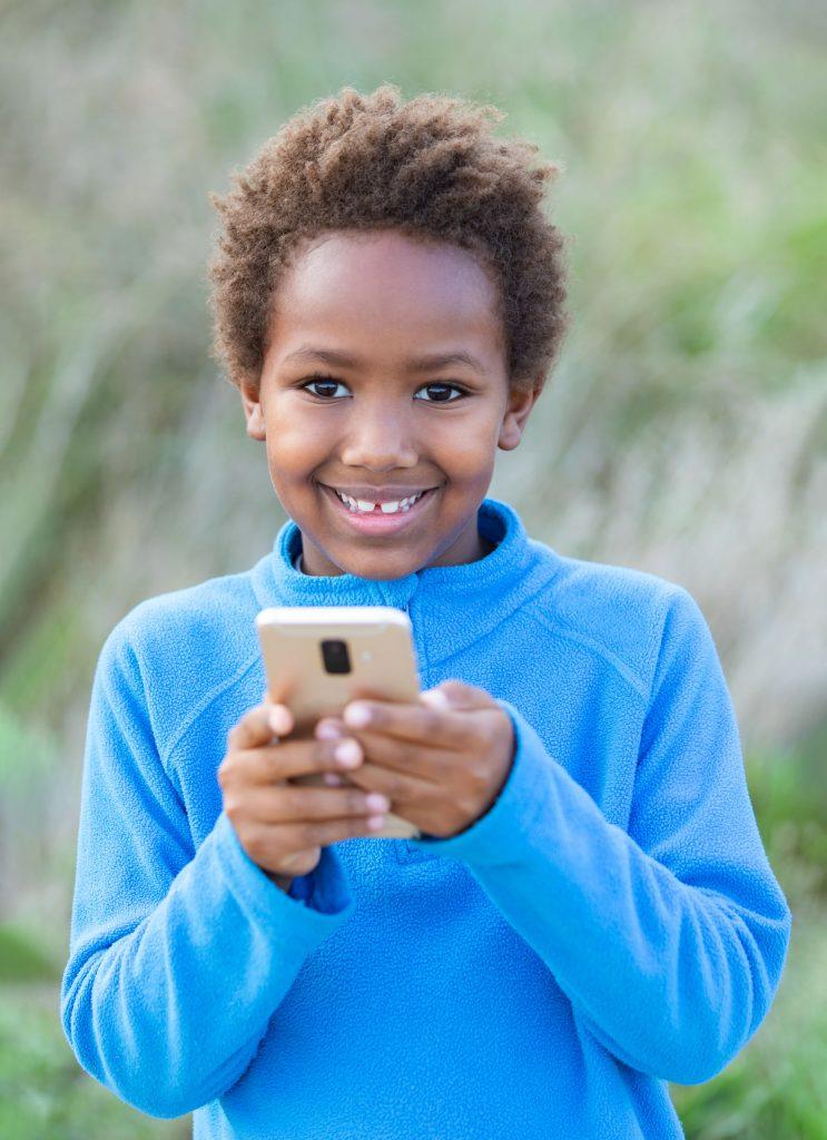 A young girl enjoying educational games