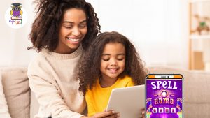 Mum and daughter playing educational games